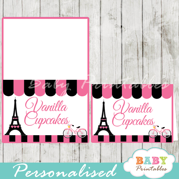printable french bicyle paris eiffel tower personalized food label cards