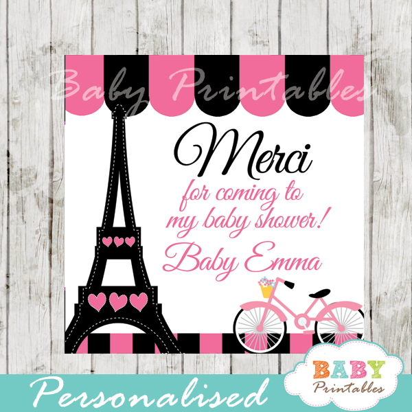 printable pink paris eiffel tower favor gift tags