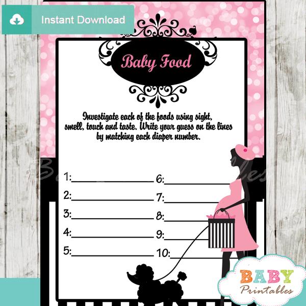 pink paris poodle printable baby shower games blind tasting baby food