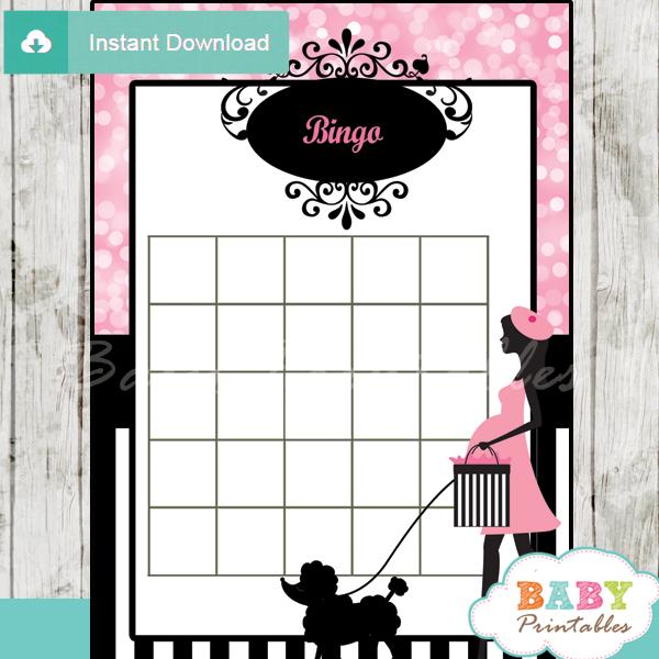 poodle paris printable baby shower bingo game cards