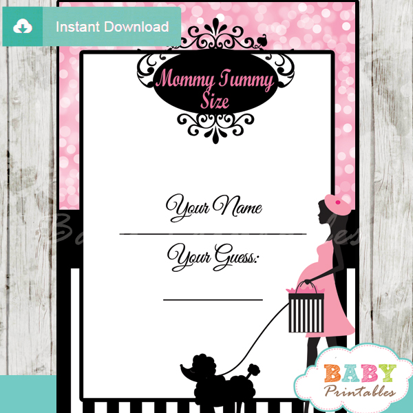 french poodle paris printable measure the belly baby shower game