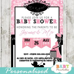 printable pink bokeh Paris poodle baby shower invitation personalized
