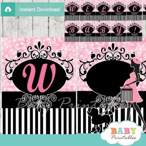 printable french paris poodle welcome banner decoration personalized