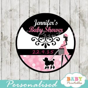 printable french paris poodle personalized favor tags toppers