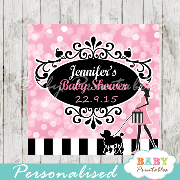 printable pink paris poodle favor gift tags