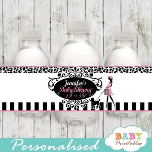 animal print printable french poodle paris personalized bottle wrappers diy