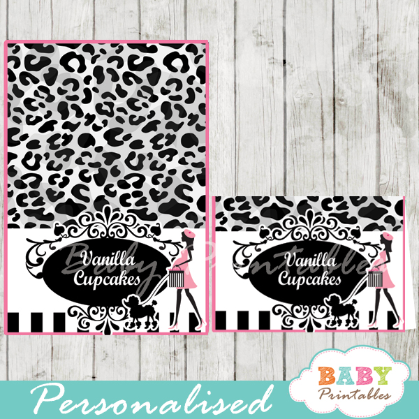 animal print printable french paris poodle personalized food label cards