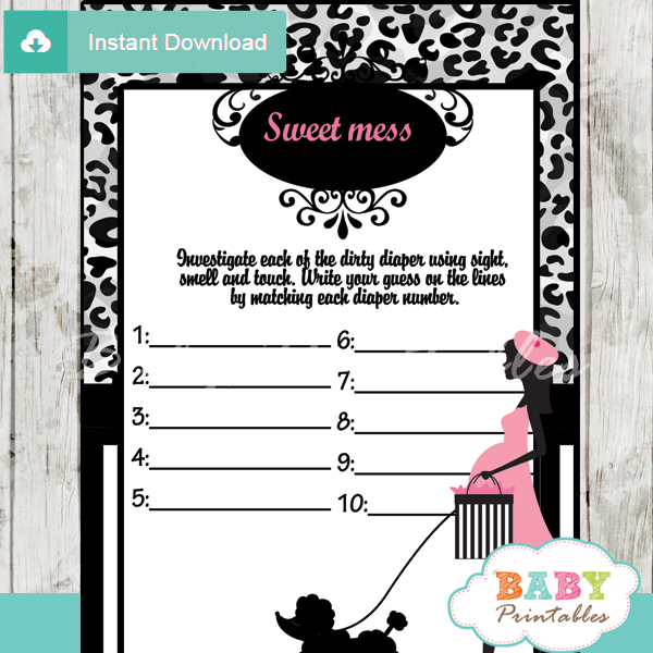 printable poodle paris Baby Shower Game Guess the Sweet Mess Dirty Diaper