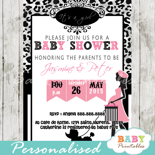 Paris Poodle Leopard Print Baby Shower Invitation D224 Baby
