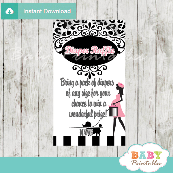 printable french pink paris poodle diaper raffle game cards baby shower
