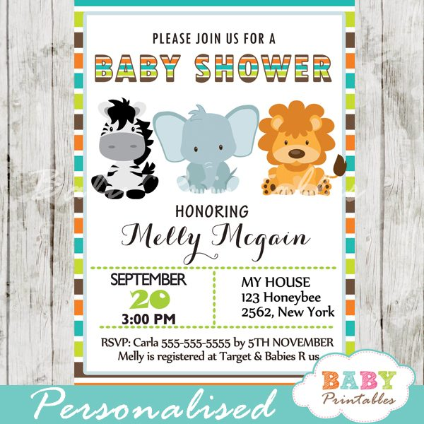 Jungle Theme Baby Shower Invitation D134 Baby Printables