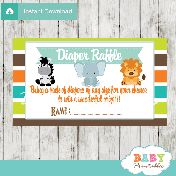 Jungle Theme Baby Shower Diaper Raffle Tickets D134