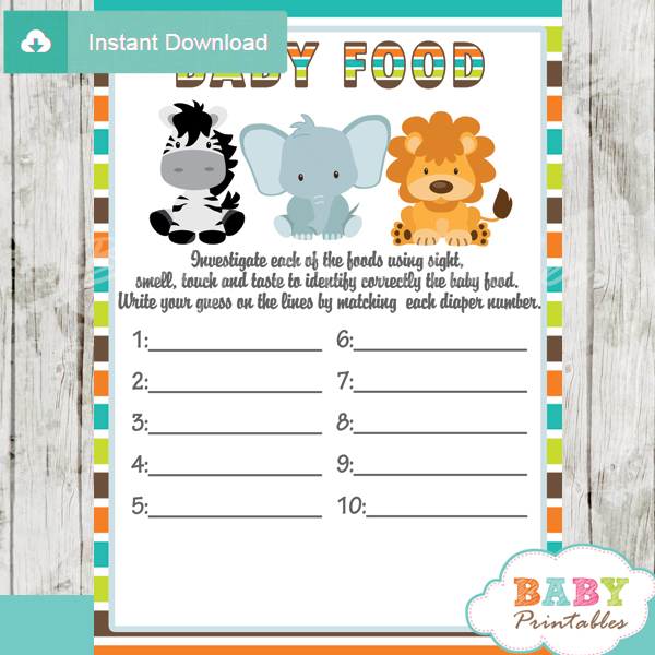 Jungle Theme Baby Shower Games Package D134 Baby Printables