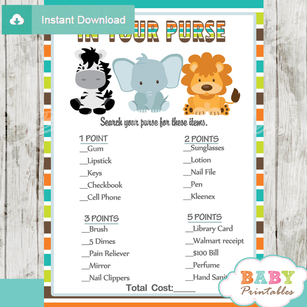 Awesome Jungle Theme Baby Shower Games Package D134 Baby Printables