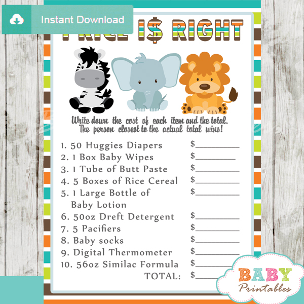 Jungle theme baby shower games package d134 baby for Animals decoration games