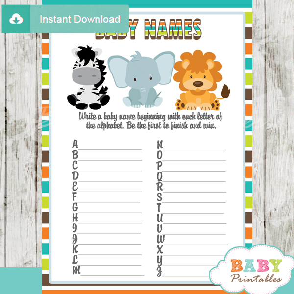 Jungle Theme Baby Shower Games Package – D134