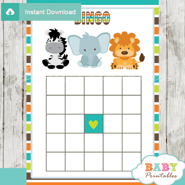 Jungle Theme Baby Shower Games Package - D134 - Baby Printables