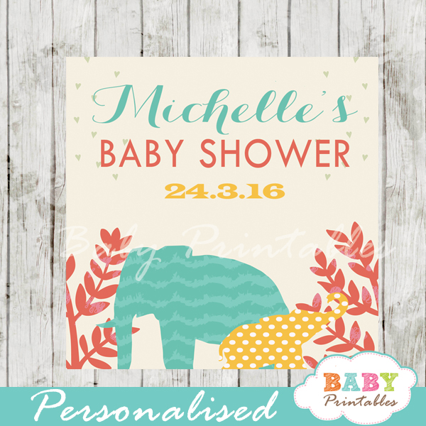 safari elephants baby shower labels