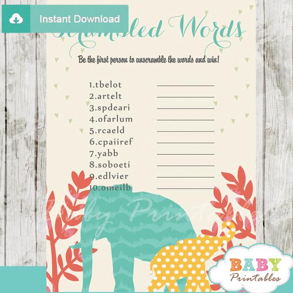 baby shower safari word games