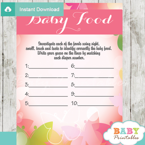 Spring Bokeh Butterfly Baby Shower Games D236 Baby