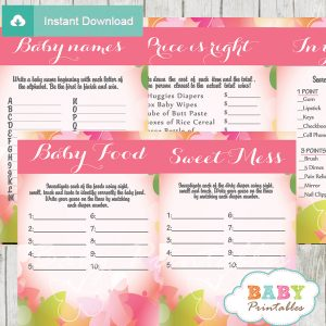 spring butterflies printable baby shower games package