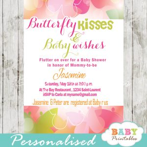 butterfly themed baby shower invitations pink green bokeh