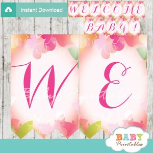 pink green printable butterflies welcome banner decoration personalized