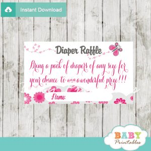 pink gray butterfly diaper raffle game tickets baby shower