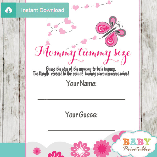 pink butterfly measure the belly baby shower games and activities