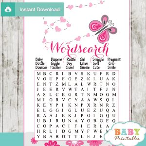 pink butterfly word games for baby shower