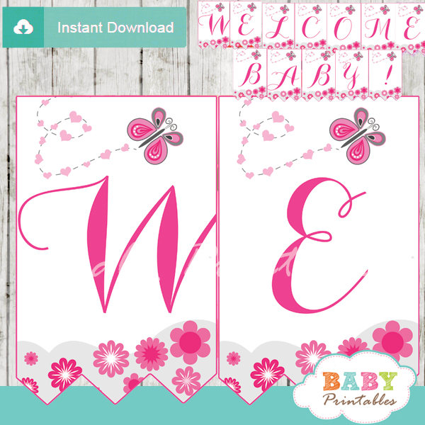 pink butterfly welcome banner decoration personalized