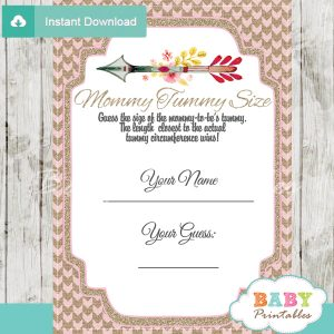 baby shower tribal arrow games guess mommy tummy size