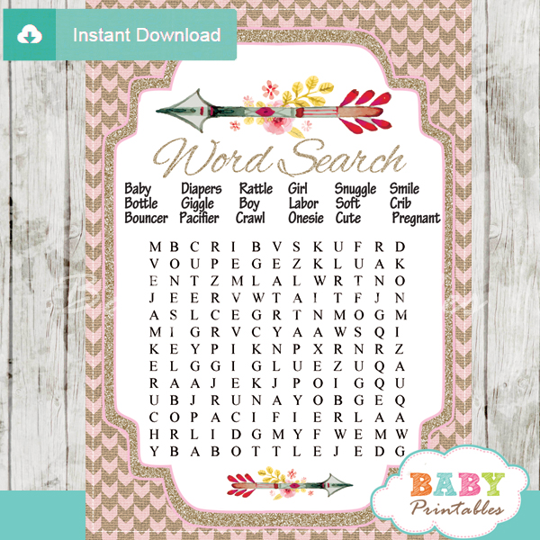 Burlap Pink Tribal Arrow Baby Shower Games – D240