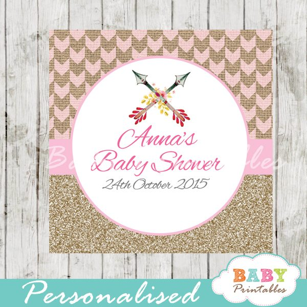 graphic relating to Printable Baby Shower Tags identified as Burlap Purple Tribal Arrow Tailored Sq. Labels - D240