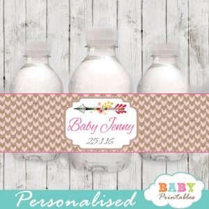 tribal arrow personalized baby shower water bottle labels