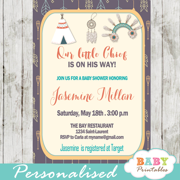 Native American Baby Shower Invitation Tribal Arrows Pattern D241