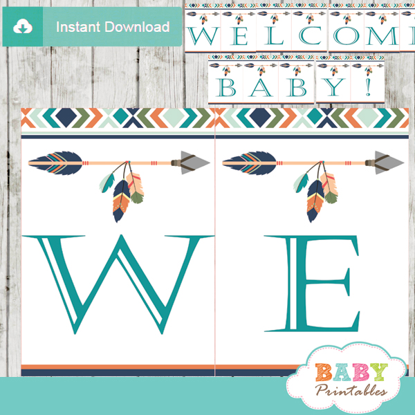 personalized tribal arrow baby shower banner diy