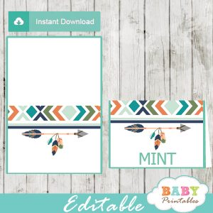 boho arrow tribal baby shower food labels