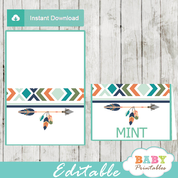 Tribal Editable Food Tents for Boys, Boho Arrow - D242 - Baby Printables