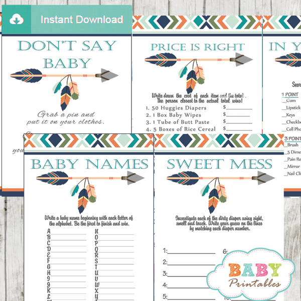 Tribal Baby Shower Games Boho Arrow D242