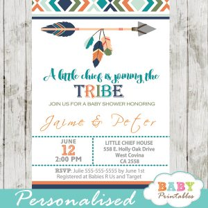 tribal baby shower invitations boys arrows feathers