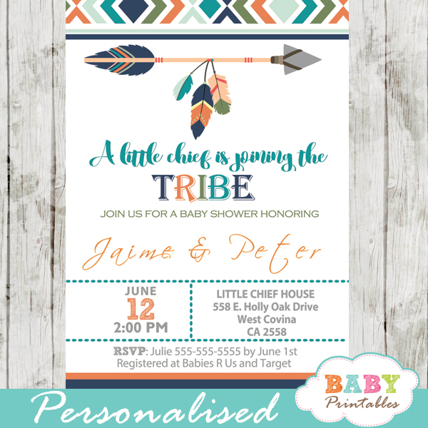 Tribal baby shower invitation for boys boho arrow d242 for Baby clothesline decoration baby shower