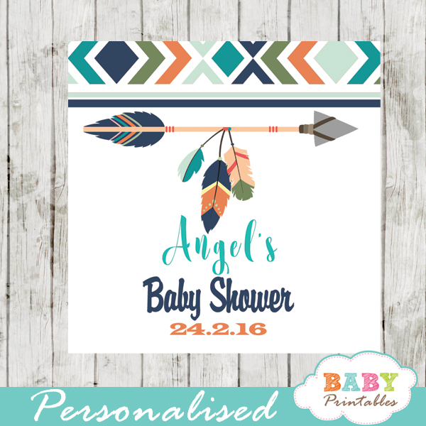 burlap pink tribal arrow printable baby shower gift tags
