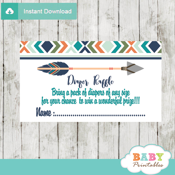 picture about Printable Diaper identified as Tribal Diaper Raffle Tickets for Boys, Boho Arrow - D242