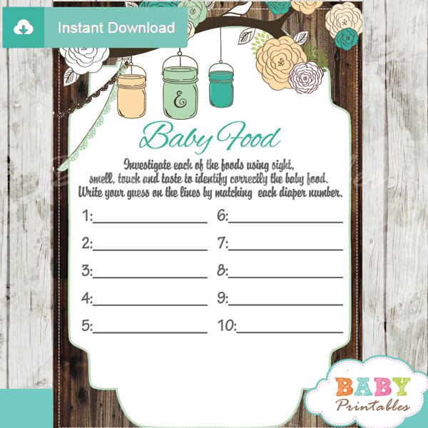 picture about Guess the Baby Food Game Free Printable named Rustic State Mason Jar Boy or girl Shower Video games Bundle, Blue