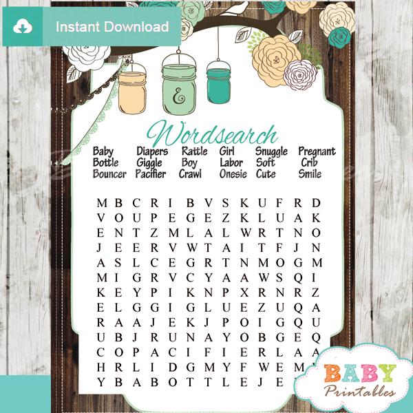 baby shower mason jar games word search