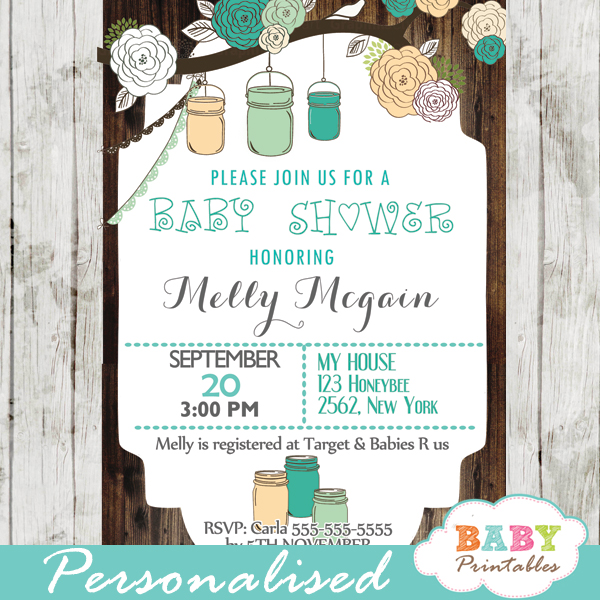 Rustic country mason jar baby shower invitation blue peach d250 blue country rustic mason jar baby shower invitations filmwisefo