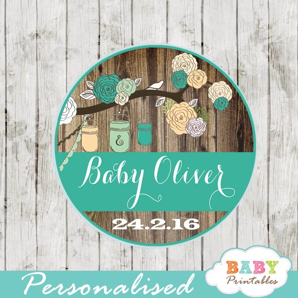 Rustic Country Mason Jar Personalized Tags Blue Peach D250