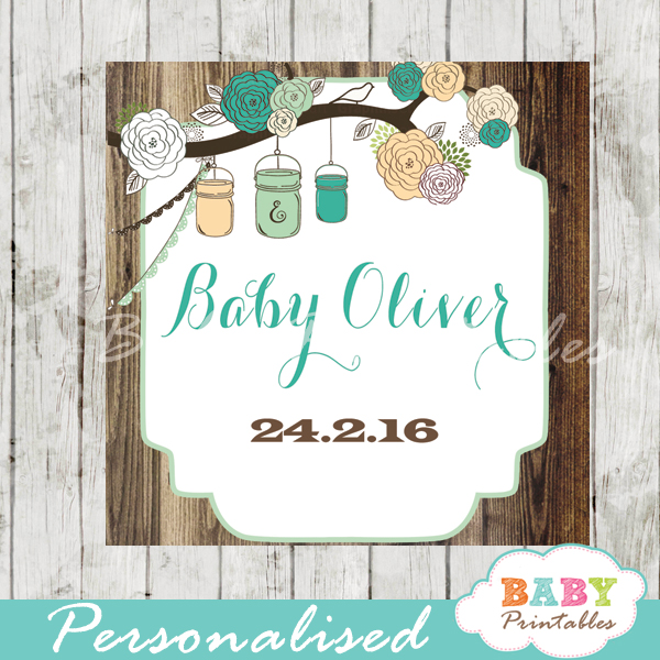country rustic blue custom mason jar labels