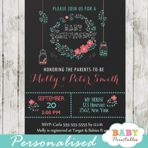 coral green floral mason jar baby shower invitations